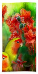 Love Among The Poppies Hand Towel by Carol Cavalaris