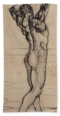 Male Act   Study For The Truth Hand Towel by Ferdninand Hodler