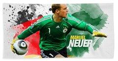 Manuel Neuer Hand Towel by Semih Yurdabak