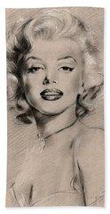 Marilyn Monroe Hand Towel by Ylli Haruni