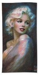 Marilyn Romantic Ww Dark Blue Hand Towel by Theo Danella