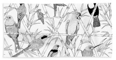 Menagerie Black And White Hand Towel by Jacqueline Colley