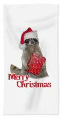 Merry Christmas -  Raccoon Hand Towel by Gravityx9 Designs