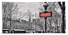 Metro Pont Marie Hand Towel by Delphimages Photo Creations