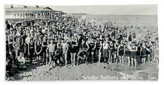 Miami Beach Sunbathers 1921 Hand Towel by Jon Neidert