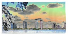 Miami Skyline Abstract Hand Towel by Christiane Schulze Art And Photography