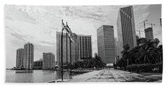 Miami Skyline Hand Towel by George Martinez