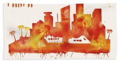 Miami Skyline Watercolor Poster - Cityscape Painting Artwork Hand Towel by Beautify My Walls