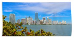 Miami Waterfront 6807 Hand Towel by Olivia Novak