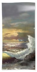 Michigan Seul Choix Point Lighthouse With An Angry Sea Hand Towel by Regina Femrite