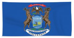 Michigan State Flag Hand Towel by American School