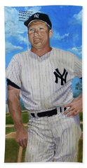 Mickey Mantle Hand Towel by Bernard Morille