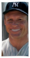 Mickey Mantle Hand Towel by Jack Bunds
