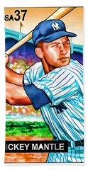 Mickey Mantle Hand Towel by Lanjee Chee