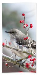 Mockingbird In The Blossoms Hand Towel by Shelby  Young