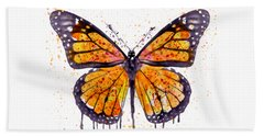 Monarch Butterfly Watercolor Hand Towel by Marian Voicu