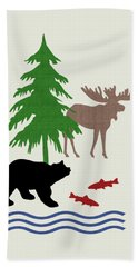 Moose And Bear Pattern Art Hand Towel by Christina Rollo