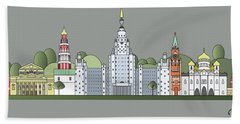 Moscow Skyline Colored Hand Towel by Pablo Romero