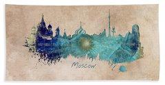 Moscow Skyline Wind Rose Hand Towel by Justyna JBJart