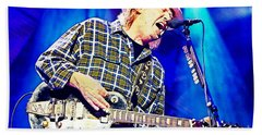 Neil Young In Concert Hand Towel by John Malone