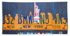 New York City Skyline License Plate Art Hand Towel by Design Turnpike