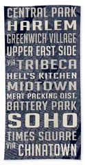 New York City Vintage Subway Stops With Map Hand Towel by Edward Fielding