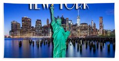 New York Classic Skyline With Statue Of Liberty Hand Towel by Az Jackson