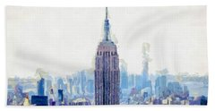 New York Skyline Art- Mixed Media Painting Hand Towel by Wall Art Prints