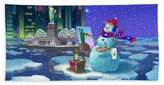 New York Snowman Hand Towel by Michael Humphries