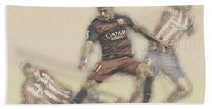 Neymar Fight For The Bal Hand Towel by Don Kuing