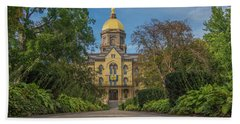 Notre Dame University Q Hand Towel by David Haskett