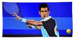 Novak Djokovic Hand Towel by Paul Meijering