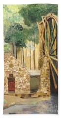 Bath Towel featuring the painting Old Mill At Berry College by Rodney Campbell