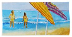 Bath Towel featuring the painting On The Beach by Rodney Campbell
