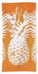 Orange And White Pineapples- Art By Linda Woods Hand Towel by Linda Woods