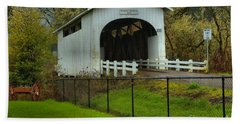 Oregon Rainforest Covered Bridge Hand Towel by Adam Jewell
