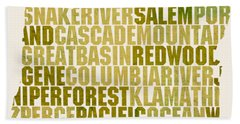 Oregon State Outline Word Map Hand Towel by Design Turnpike