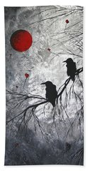 Original Abstract Surreal Raven Red Blood Moon Painting The Overseers By Madart Hand Towel by Megan Duncanson