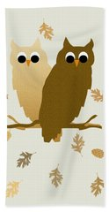 Owls Pattern Art Hand Towel by Christina Rollo