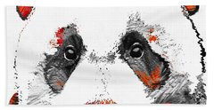 Panda Bear Art - Black White Red - By Sharon Cummings Hand Towel by Sharon Cummings