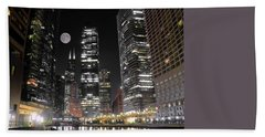 Panoramic Lakefront View In Chicago Hand Towel by Frozen in Time Fine Art Photography
