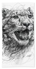 Leopard Hand Towel by Michael  Volpicelli