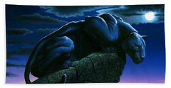 Panther On Rock Hand Towel by MGL Studio - Chris Hiett