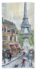 Poodle In Paris Hand Towel by Marilyn Dunlap