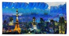 Paris Inside Tokyo Hand Towel by Sir Josef Social Critic - ART