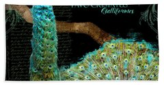 Peacock Pair On Tree Branch Tail Feathers Hand Towel by Audrey Jeanne Roberts