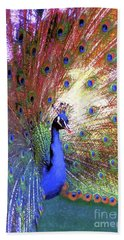 Peacock Wonder, Colorful Art Hand Towel by Jane Small