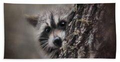 Peekaboo Raccoon Art Hand Towel by Jai Johnson
