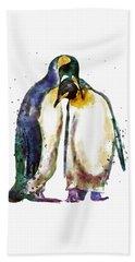 Penguin Couple Hand Towel by Marian Voicu