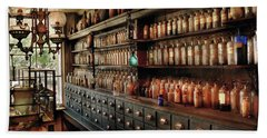 Pharmacy - So Many Drawers And Bottles Hand Towel by Mike Savad